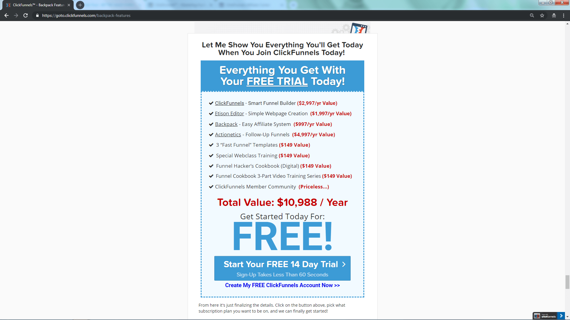 clickfunnels backpack pricing